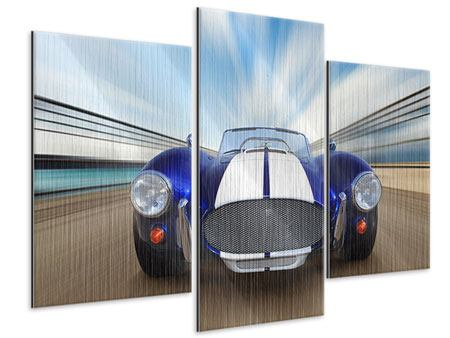 Modern 3 Piece Metallic Print Racing Car