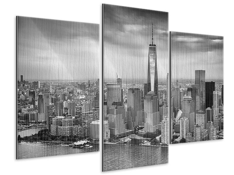 Modern 3 Piece Metallic Print Skyline Black And White Photography New York