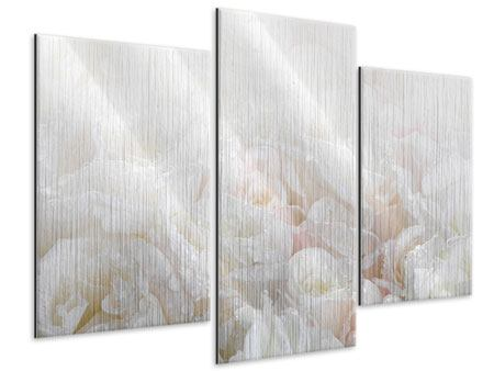 Modern 3 Piece Metallic Print White Roses In The Morning Dew
