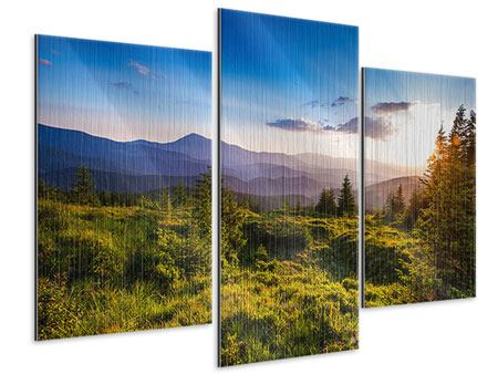 Modern 3 Piece Metallic Print Peaceful Landscape