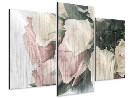 Modern 3 Piece Metallic Print Romantic Rose