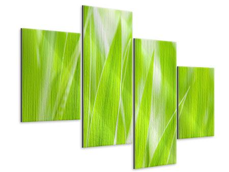 Modern 4 Piece Metallic Print Grass XXL