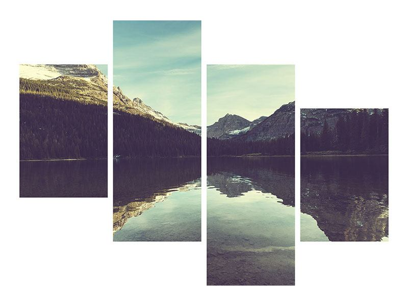 Modern 4 Piece Metallic Print Reflection In Mountain Lake
