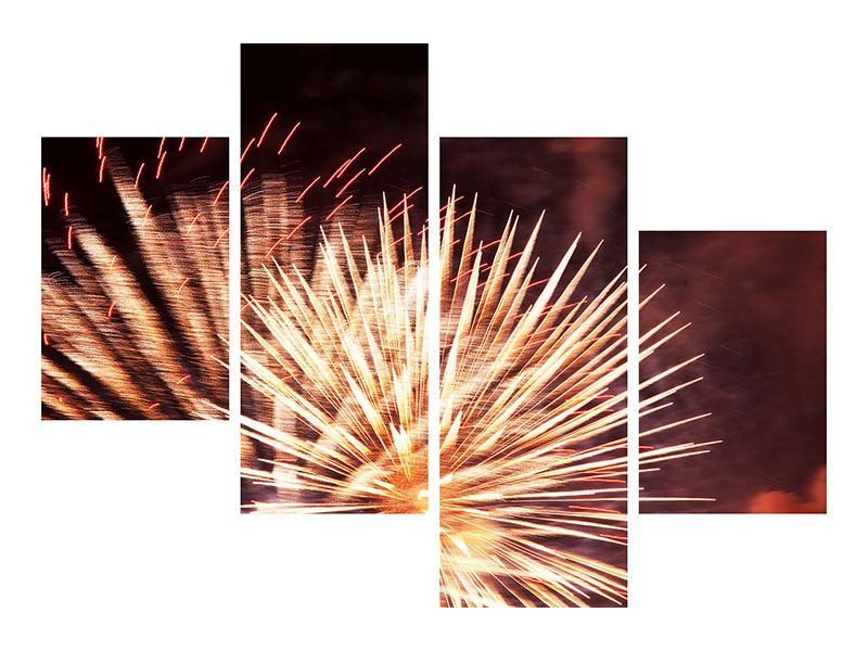 Modern 4 Piece Metallic Print Close Up Fireworks