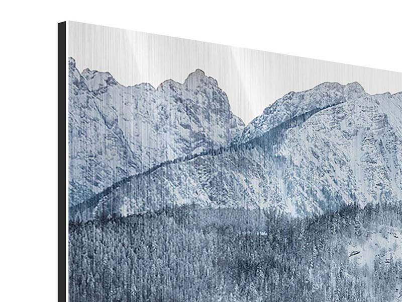 Modern 4 Piece Metallic Print Photo Wallaper Mountains In Monochrome