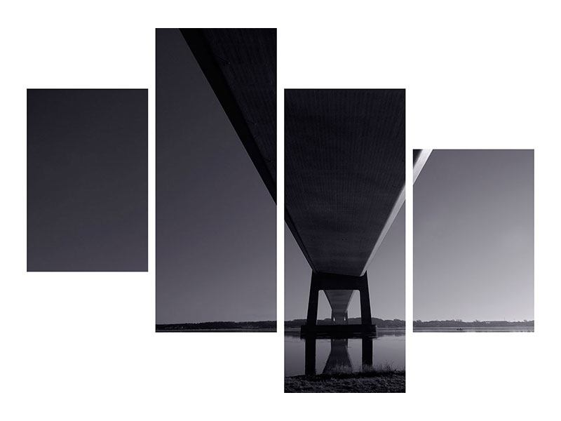 Modern 4 Piece Metallic Print The Bridge Over Deep Water