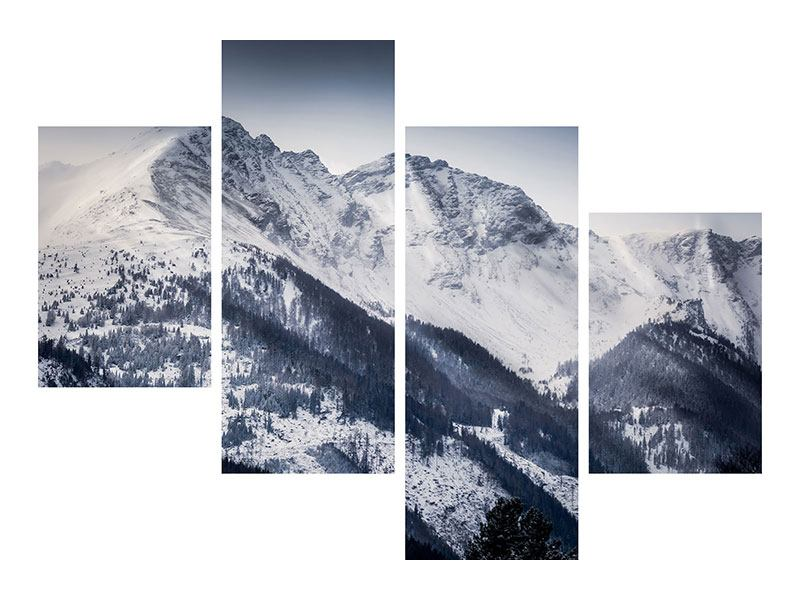 Modern 4 Piece Metallic Print Switzerland Mountains