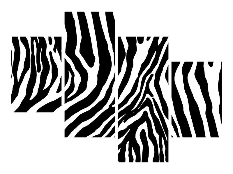 Modern 4 Piece Metallic Print Photo Wallaper Zebra Pattern