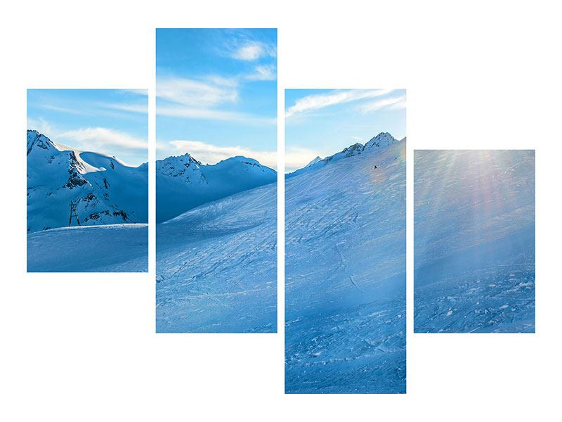 Modern 4 Piece Metallic Print Photo Wallaper Sunrise In The Mountains