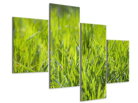 Modern 4 Piece Metallic Print Bright Grass In Morning Dew