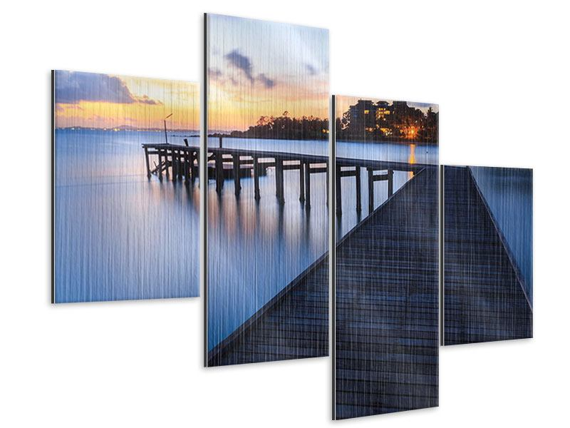 Modern 4 Piece Metallic Print Island Dream