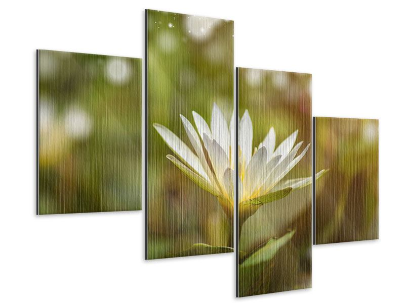 Modern 4 Piece Metallic Print Lily Light Play