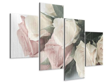 Modern 4 Piece Metallic Print Romantic Rose