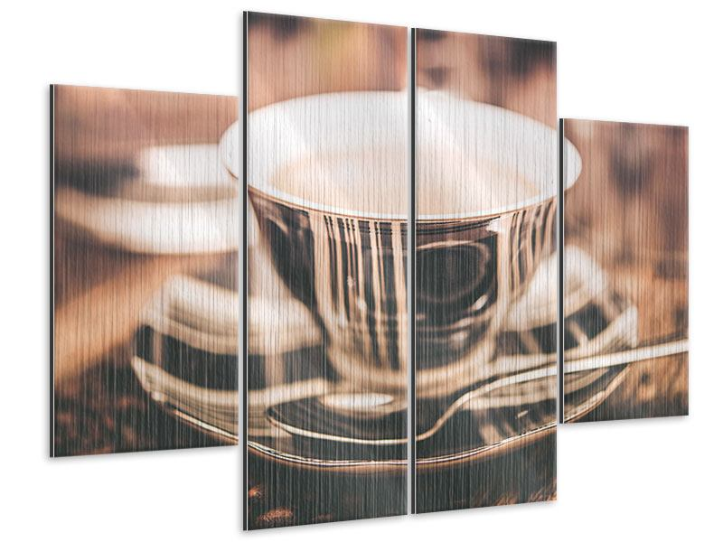 4 Piece Metallic Print Coffee's Ready