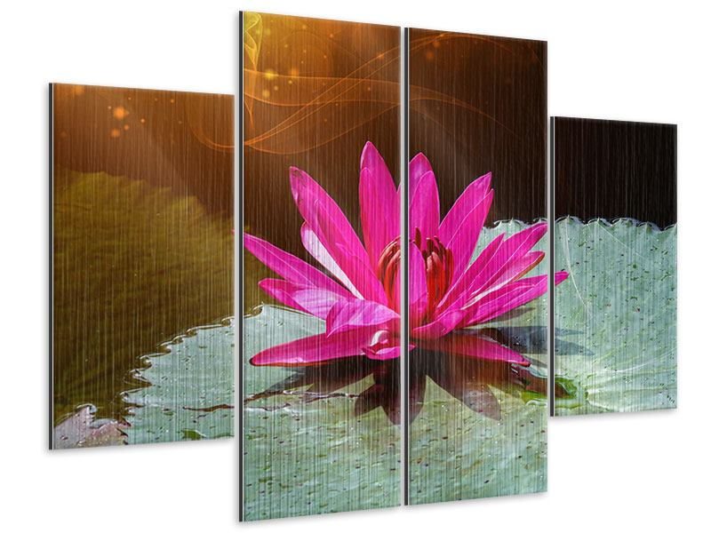4 Piece Metallic Print The Frog And The Lily Pad