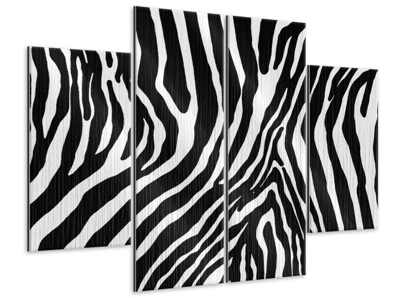 4 Piece Metallic Print Photo Wallaper Zebra Pattern