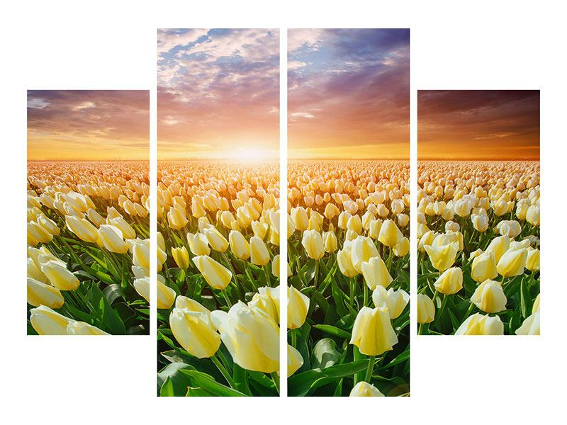 4 Piece Metallic Print Sunrise On tulips