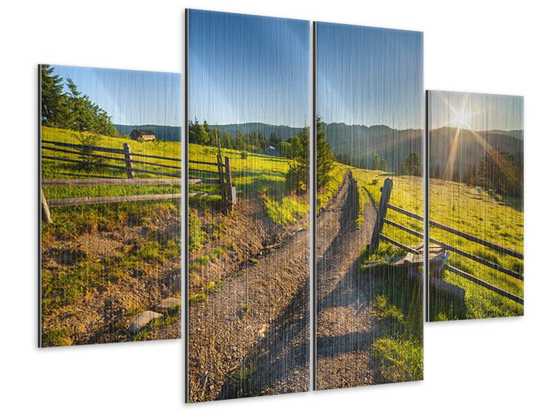4 Piece Metallic Print Sunrise At Mountain