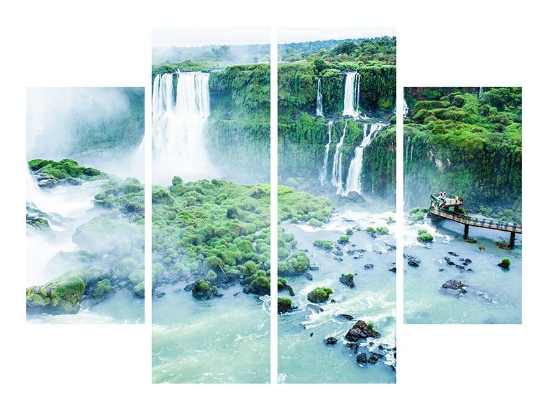 4 Piece Metallic Print Waterfalls
