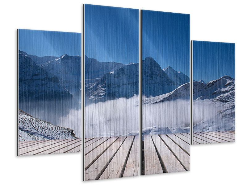 4 Piece Metallic Print Sun Terrace In The Swiss Alps