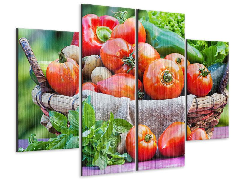 4 Piece Metallic Print Vegetable Basket