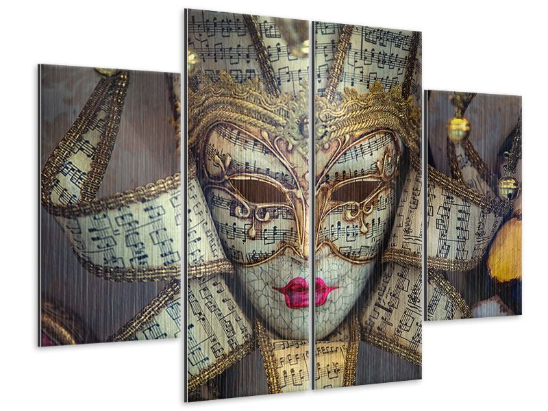 4 Piece Metallic Print Venetian Mask