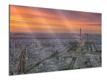Metallic Print Paris Skyline At Sunset