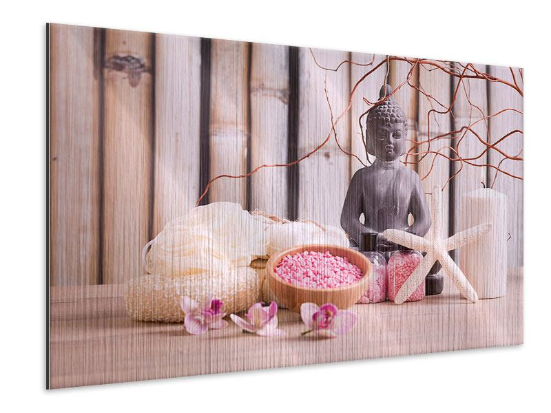 Metallic-Bild Spa + Buddha