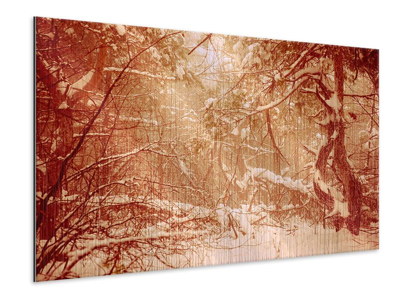 Metallic Print Snow Forest