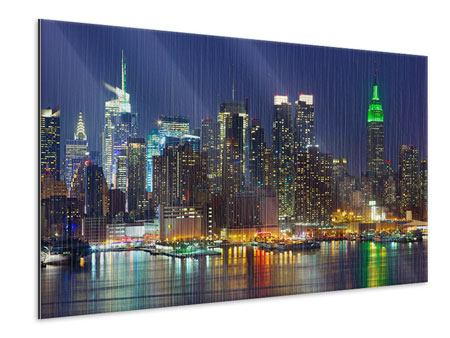 Metallic Print Skyline New York Midtown At Night