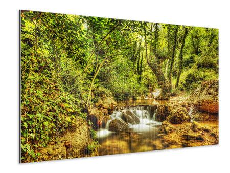 Metallic Print Waterfall In The Forest