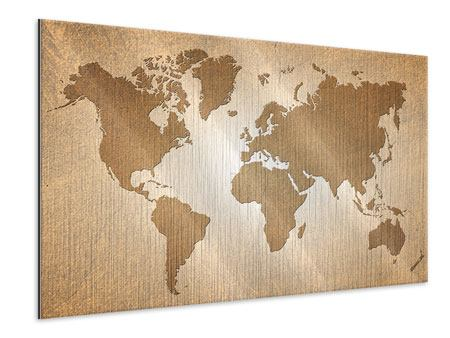 Metallic Print Map Of The World In Vintage