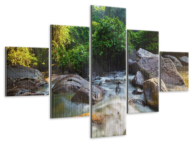 5 Piece Metallic Print The Waters
