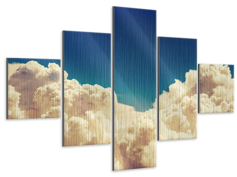 5 Piece Metallic Print Sky Clouds
