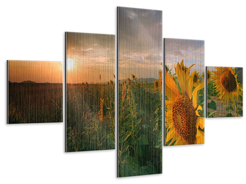 5 Piece Metallic Print Sunflowers In Play Of Light