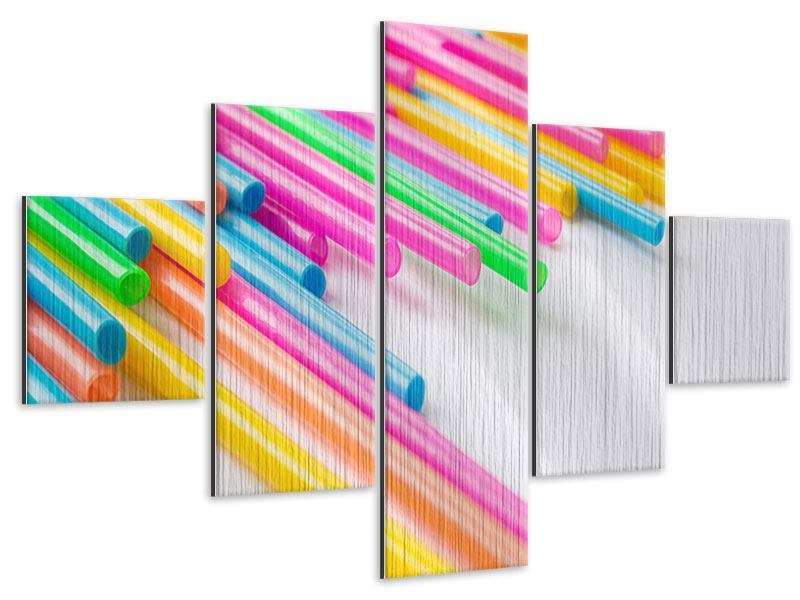 Alu-Dibond effet metallise en 5 parties Pop Art