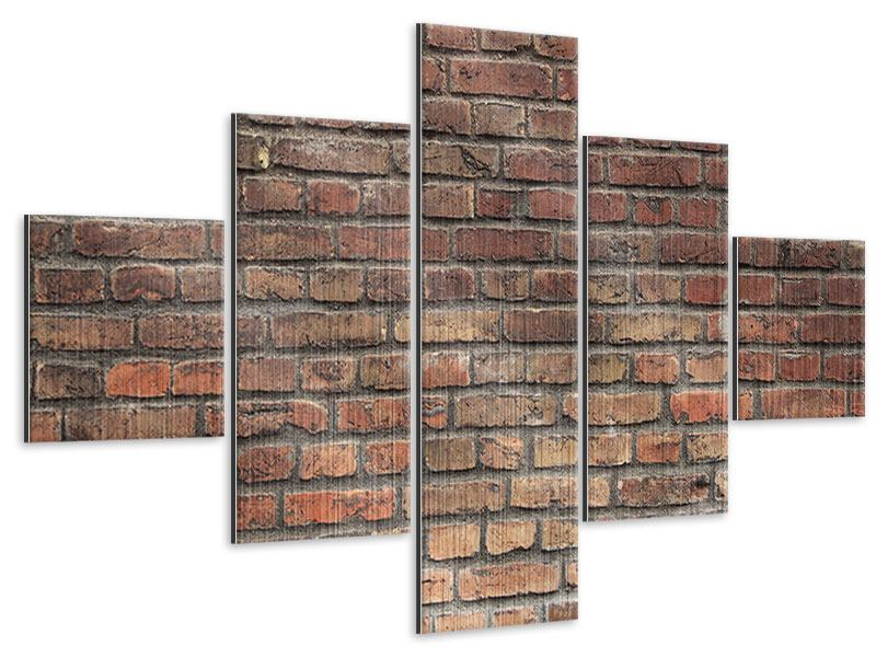 5 Piece Metallic Print Brown Brick Wall