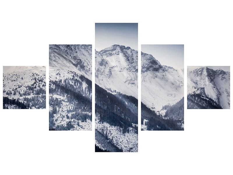 5 Piece Metallic Print Switzerland Mountains