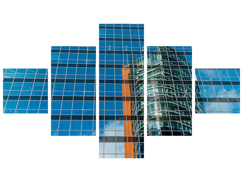 5 Piece Metallic Print Skyscraper Mirror