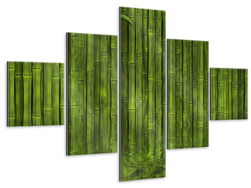 5 Piece Metallic Print Water Reflections Bamboo