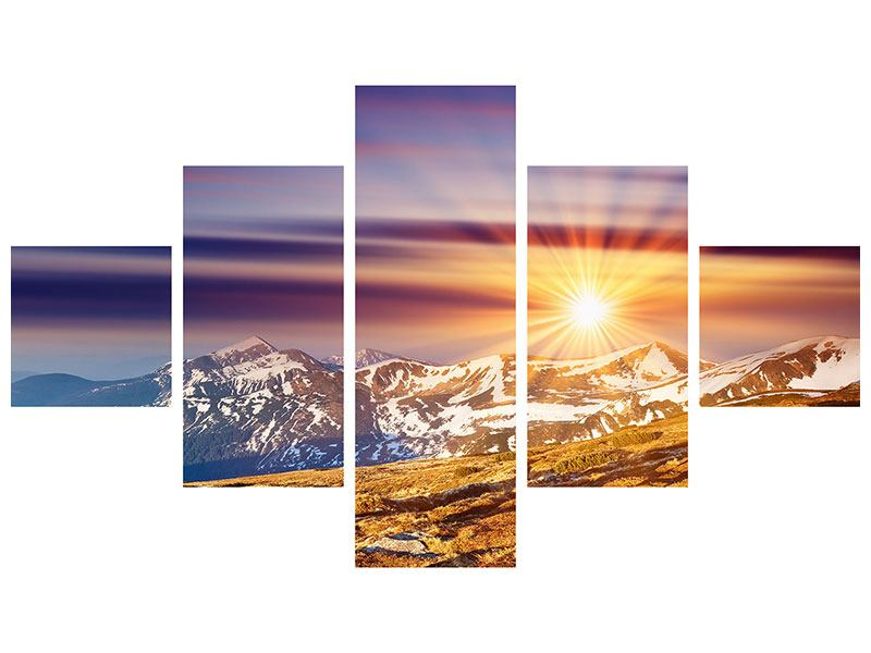 5 Piece Metallic Print Majestic Sunset At The Mountain