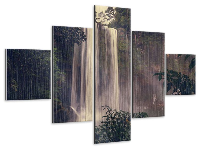 5 Piece Metallic Print Waterfall In Mexico