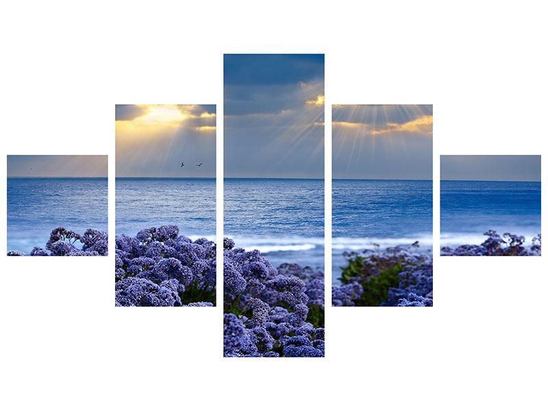5 Piece Metallic Print Lavender And Sea