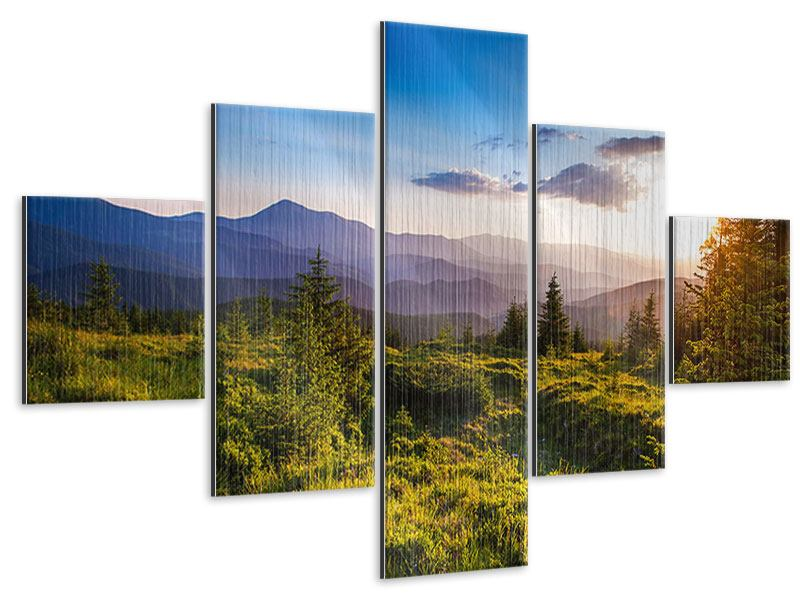 5 Piece Metallic Print Peaceful Landscape