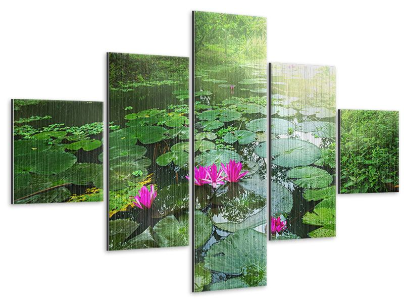 5 Piece Metallic Print Garden Pond