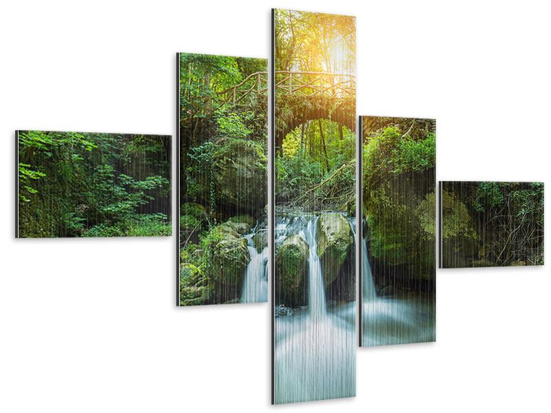 Modern 5 Piece Metallic Print Water Reflection