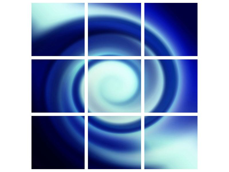 9 Piece Metallic Print Abstract Blue Swirl