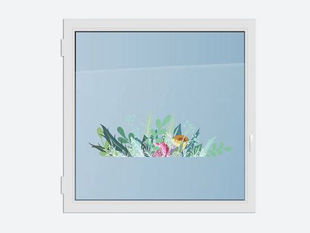 Window Sticker prado de flores de colores