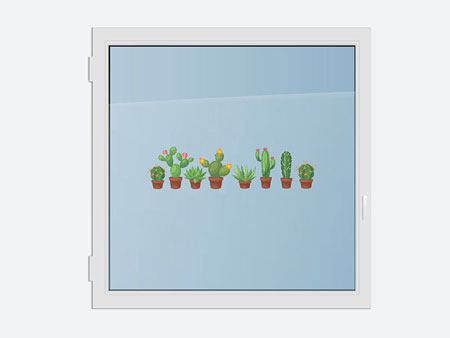 Window Sticker familia de los cactus