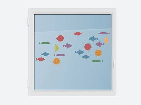 Window Sticker Cute fish world